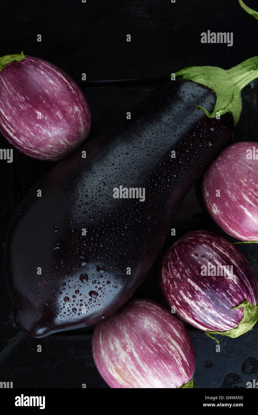 Wet black and purple striped eggplants extreme closeup. Top view, vertical image - Stock Image