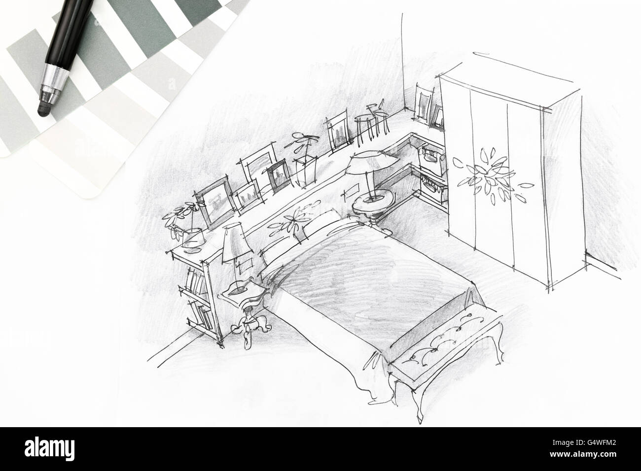 Interior sketch of modern bedroom with pencil and color swatches