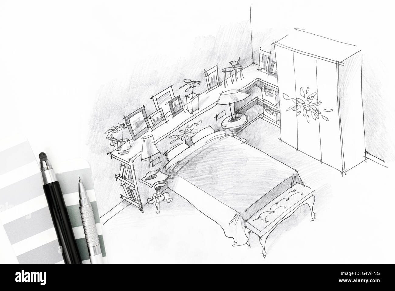 bedroom interior graphical sketch drawn by pen Stock Photo