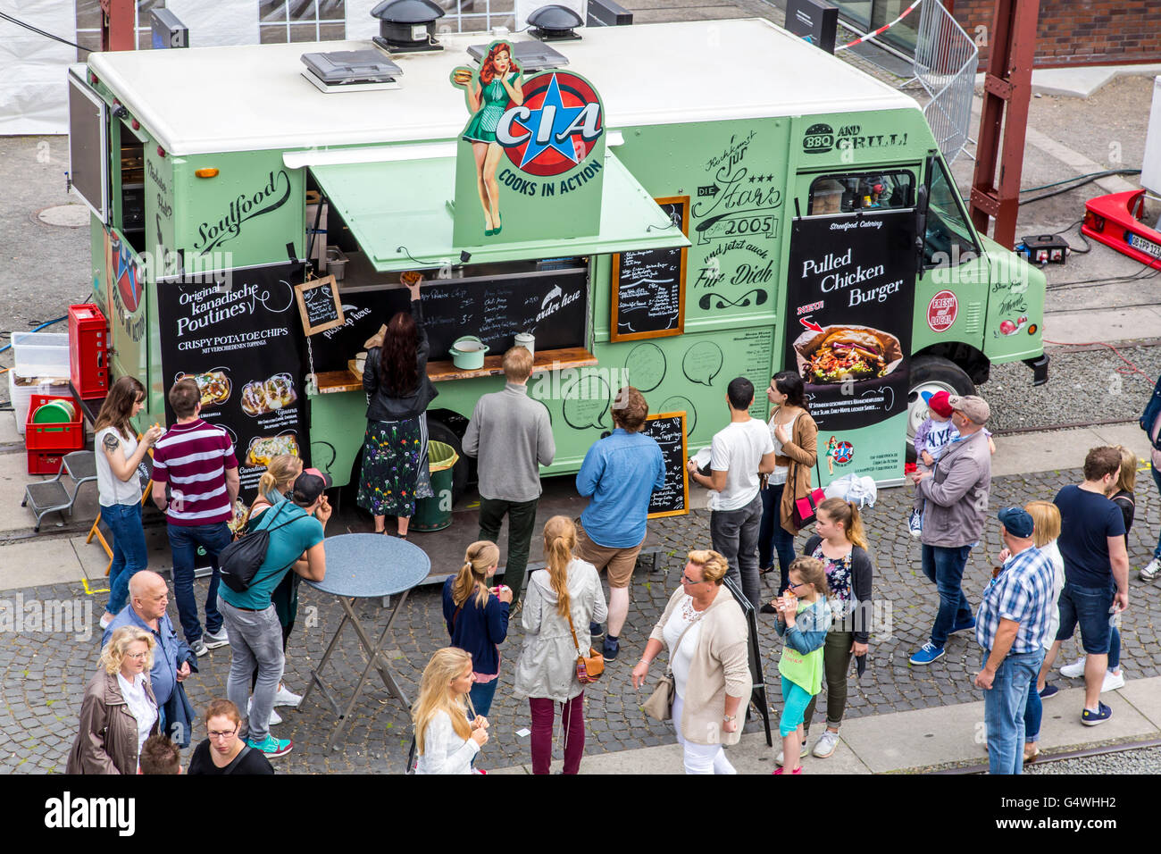 Food festival, food truck festival at Zeche Zollverein, Essen, Germany, many different kind of food preparing, in - Stock Image
