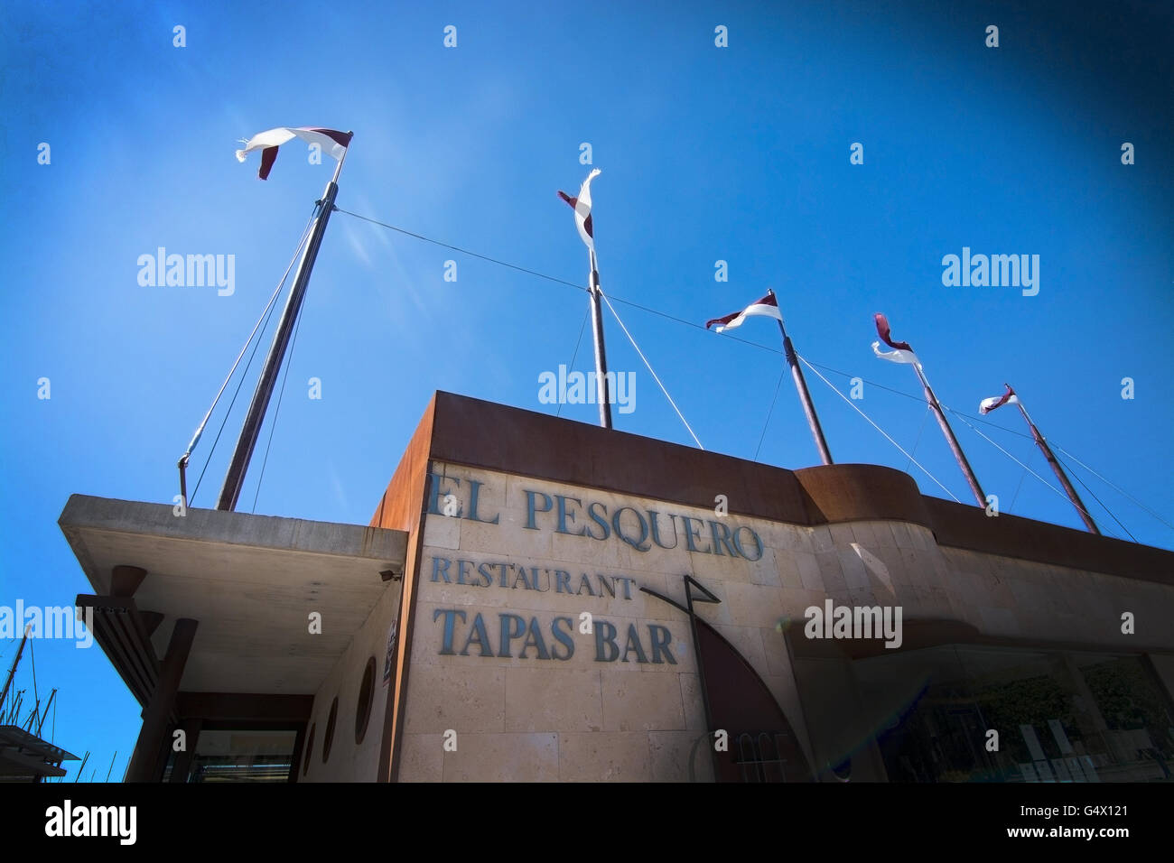 Restaurant tapas bar El Pesquero in Palma de Mallorca, Balearic islands, Spain on April 13, 2016. - Stock Image
