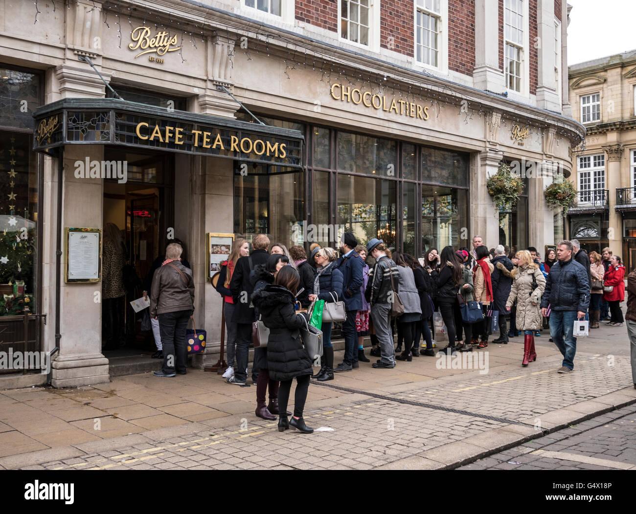 Queue at Bettys Cafe Tearoom York UK - Stock Image