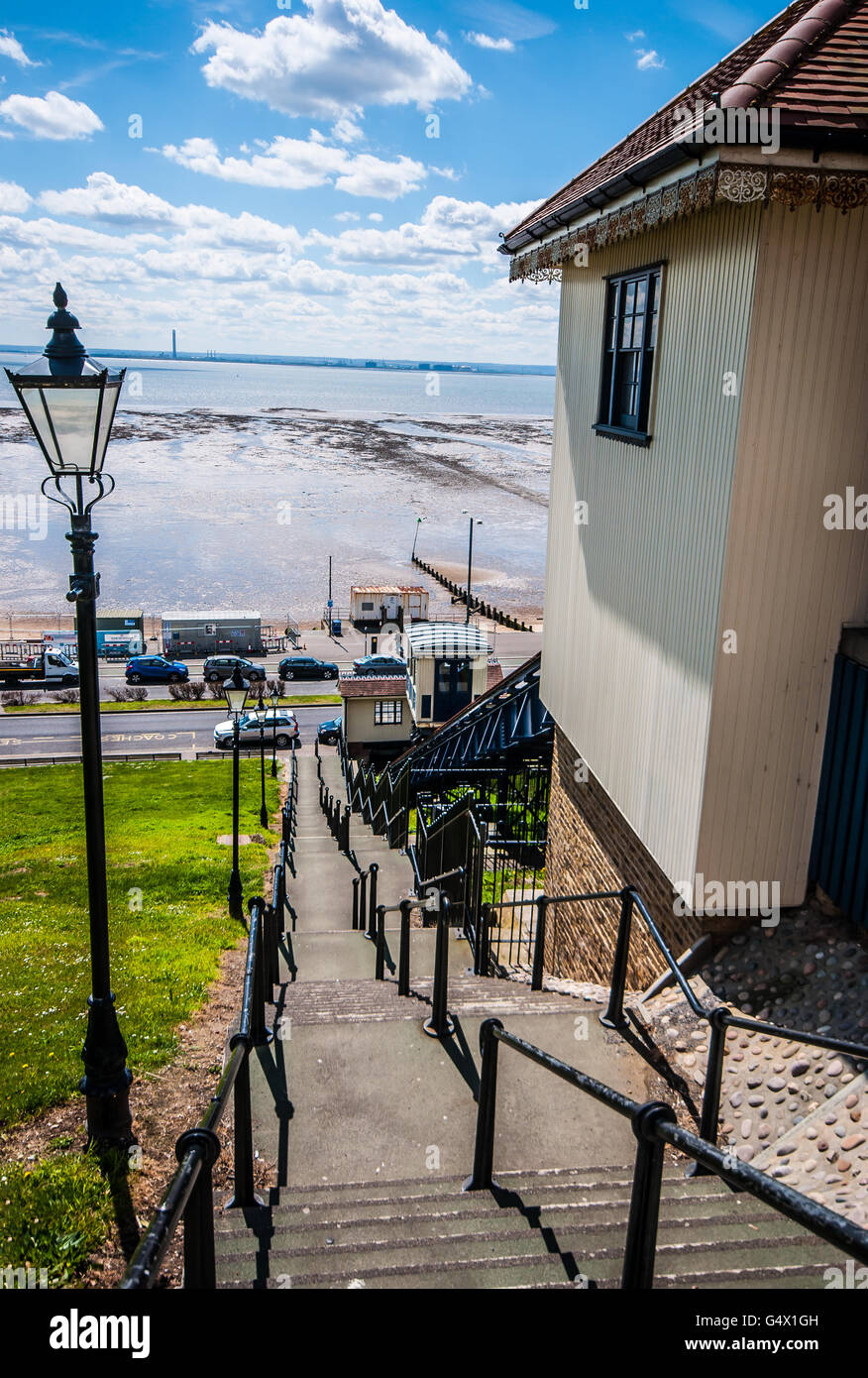Southend Cliff Railway, or Southend Cliff Lift, is a funicular in the English seaside resort of Southend-on-Sea, - Stock Image