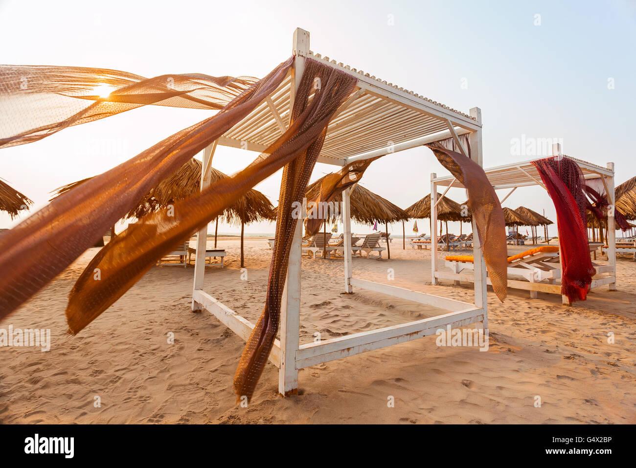 goa beach awning - Stock Image