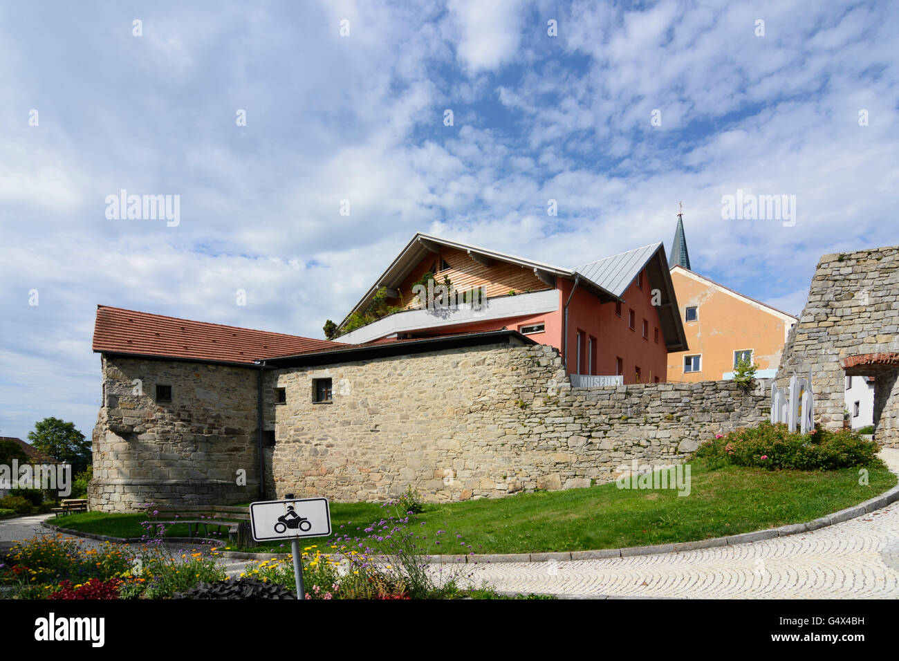 city walls, Museum 'Goldener Steig', Waldkirchen, Germany, Bayern, Bavaria, Niederbayern, Lower Bavaria - Stock Image