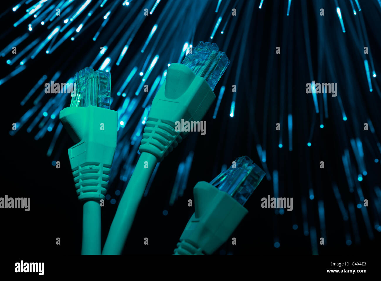 networking optical and electrical telecommunication computer connections with high bandwidth - Stock Image