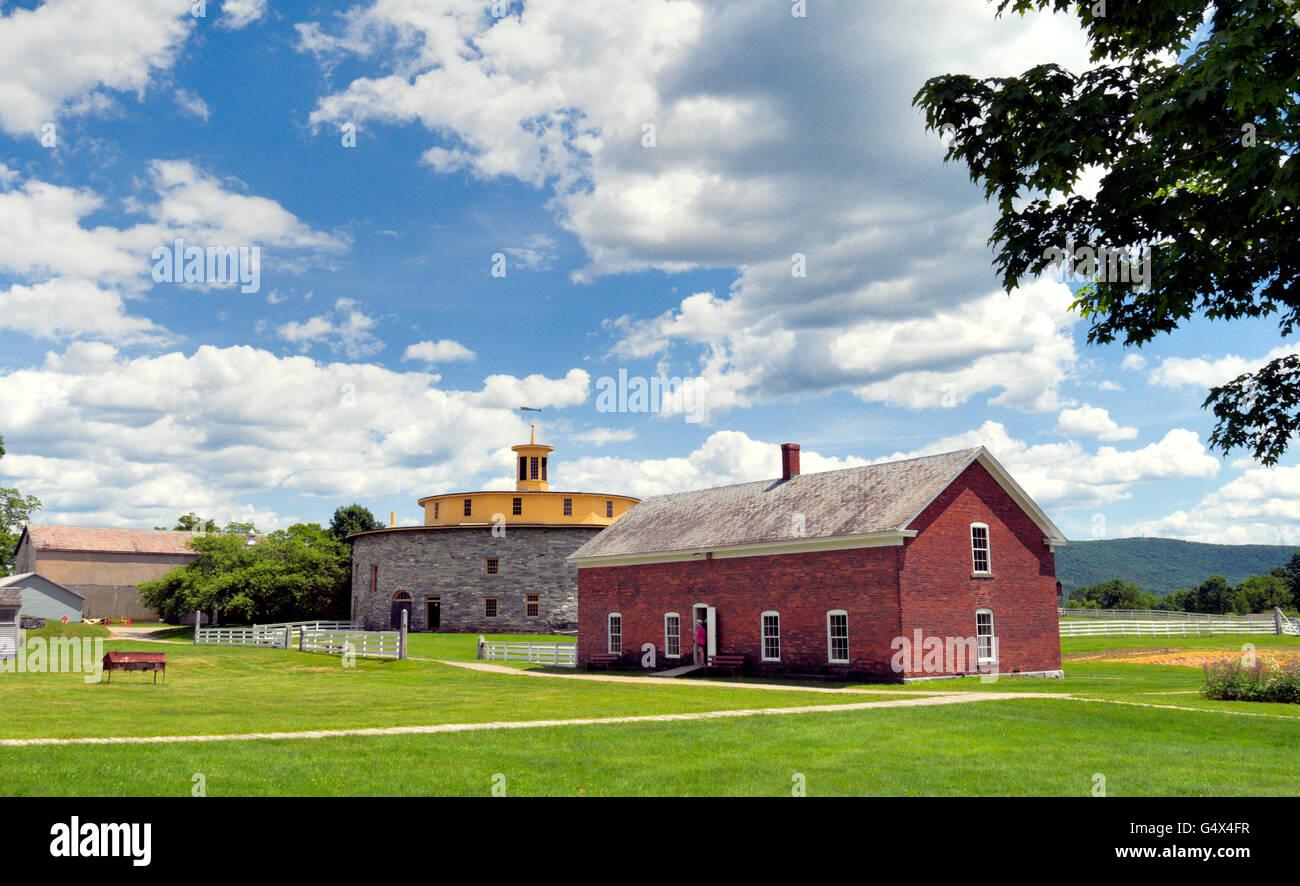 Farm buildings at Hancock Shaker Village, Massachusetts - Stock Image
