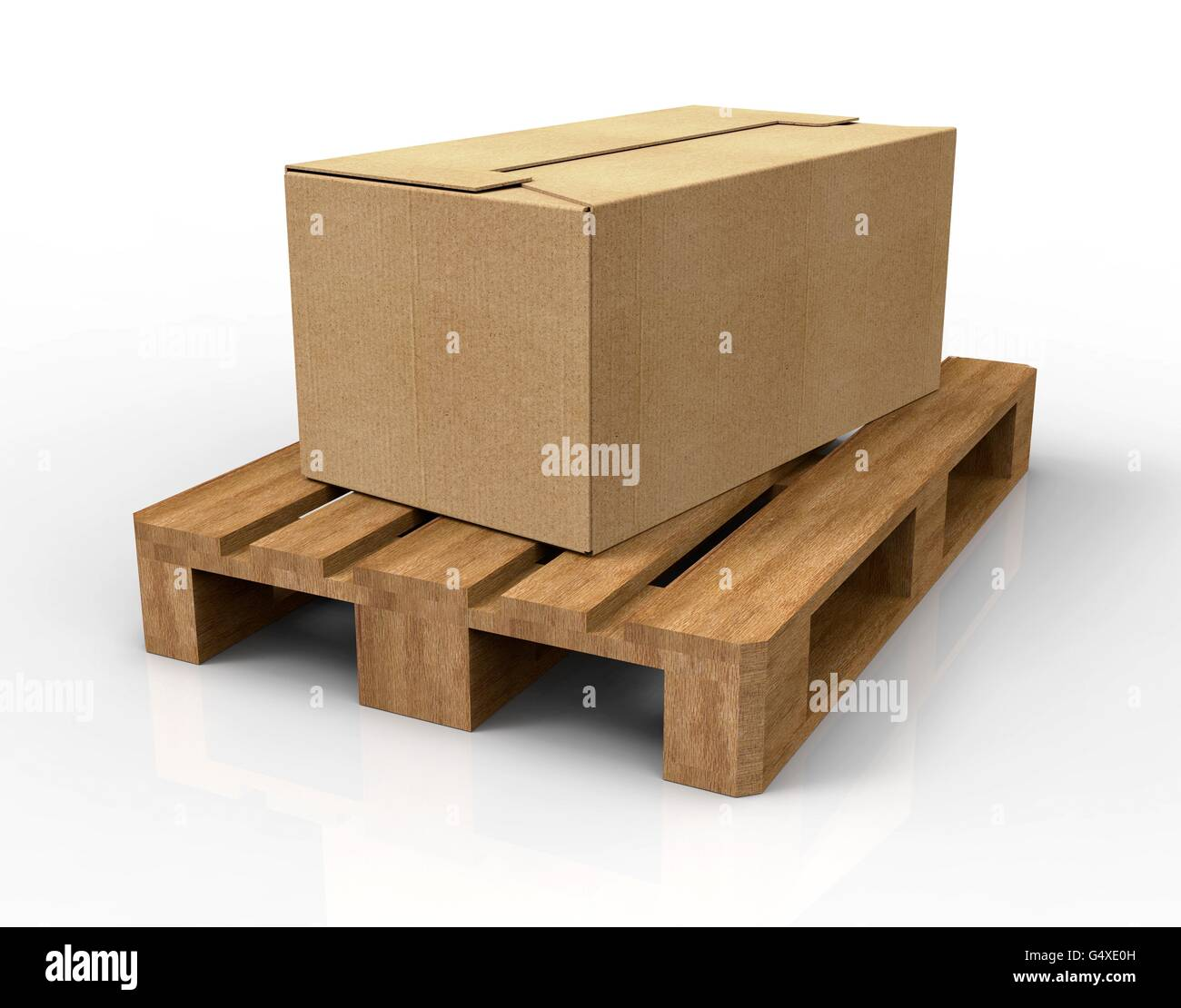 pallet isolated on white carton. - Stock Image