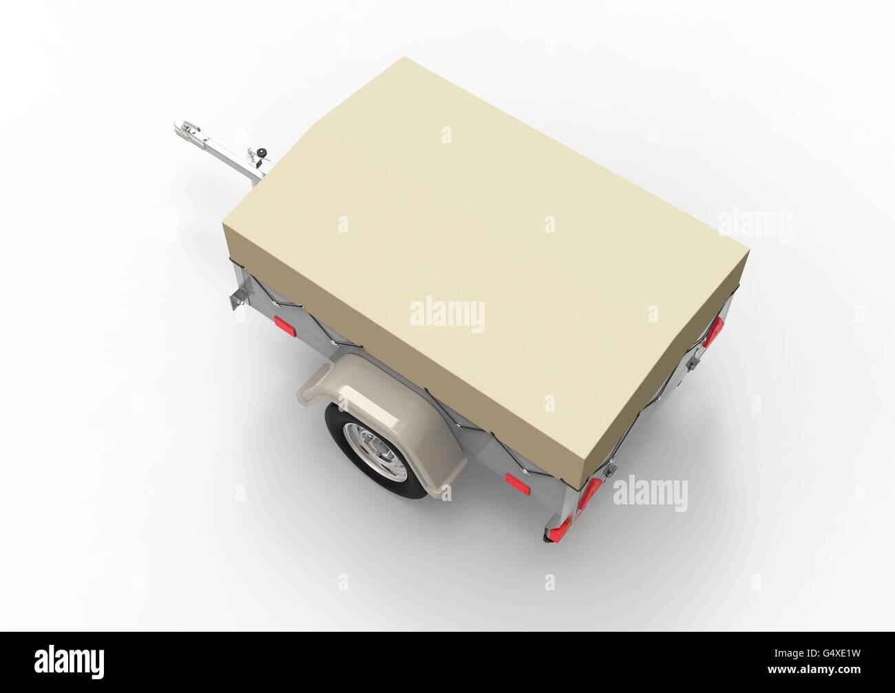 car trailer isolate on a white back ground - Stock Image