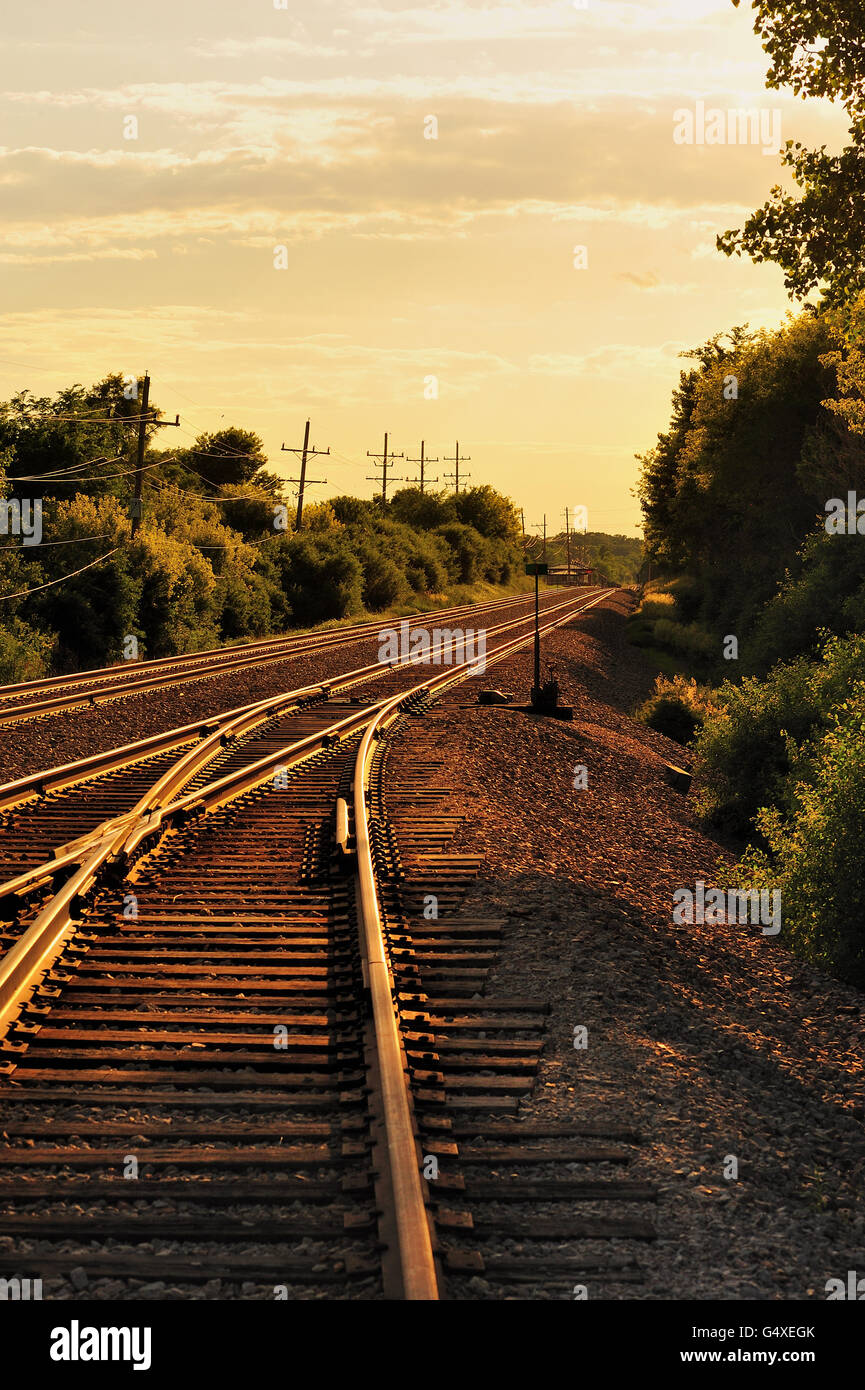 The setting sun bathes rail surfaces in a golden tone on Canadian Pacific and Metra tracks in Bartlett, Illinois. Stock Photo