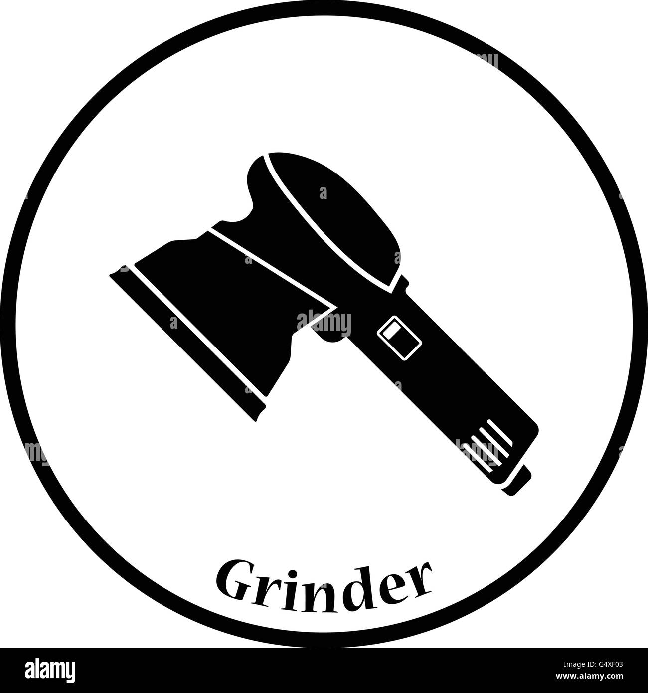Icon of grinder. Thin circle design. Vector illustration. - Stock Image
