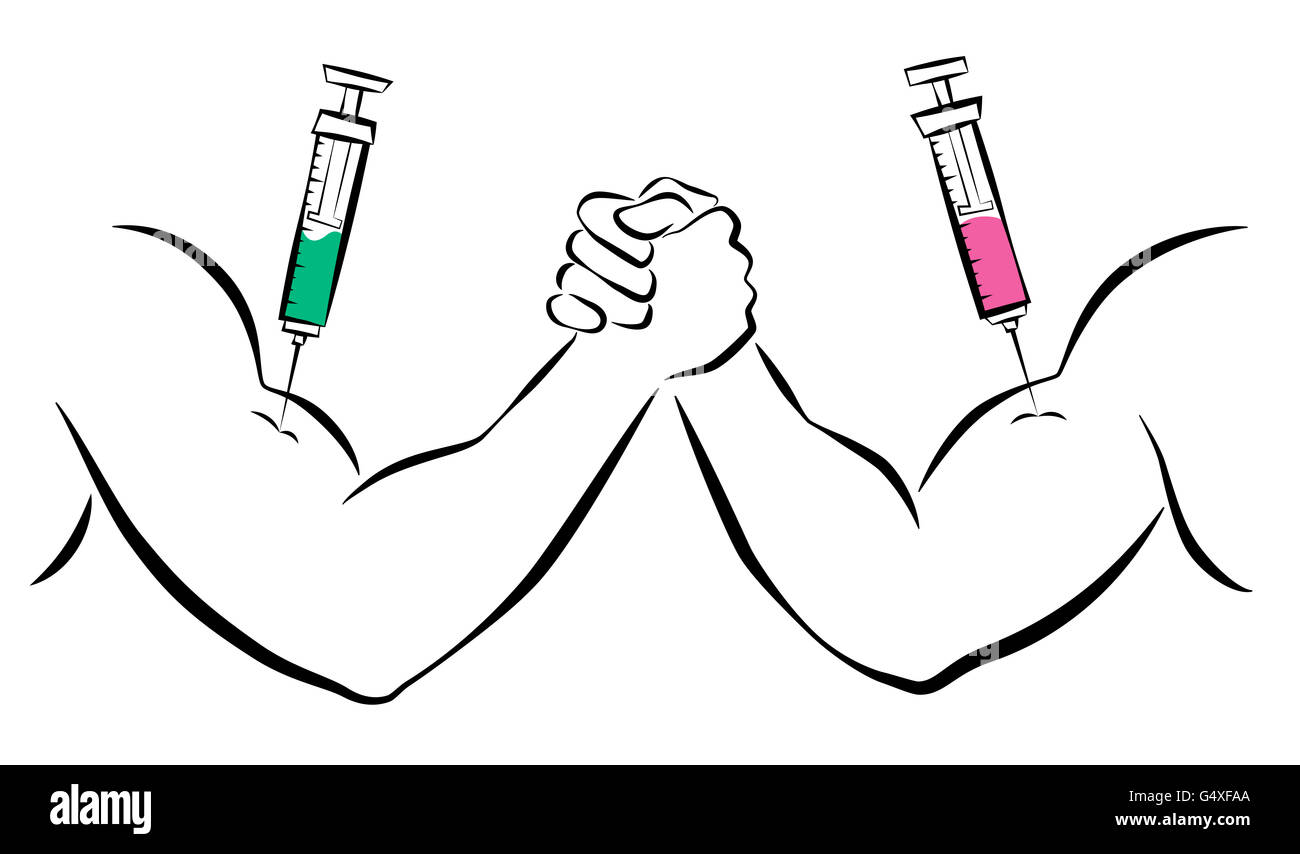 Doping - Strong arms with syringes. Comic illustration on white background. Stock Photo