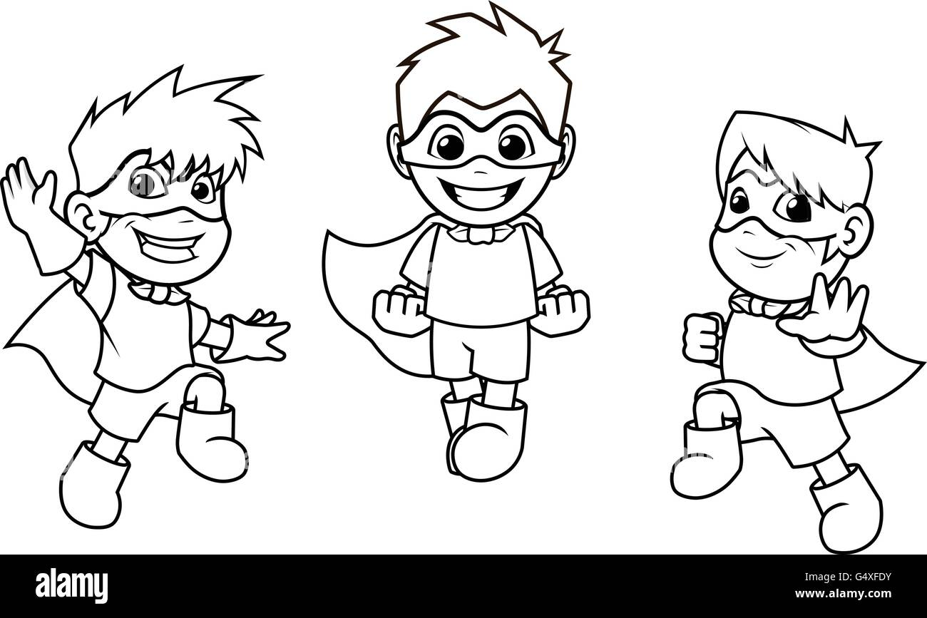Kid Super Heroes with Jumping Flying Pose Cartoon Character Outline ...