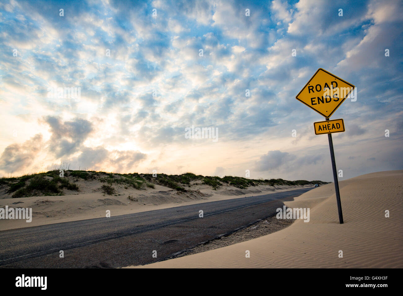 End of the Road - South Padre Island's Park Road 100 - Texas, USA - Stock Image