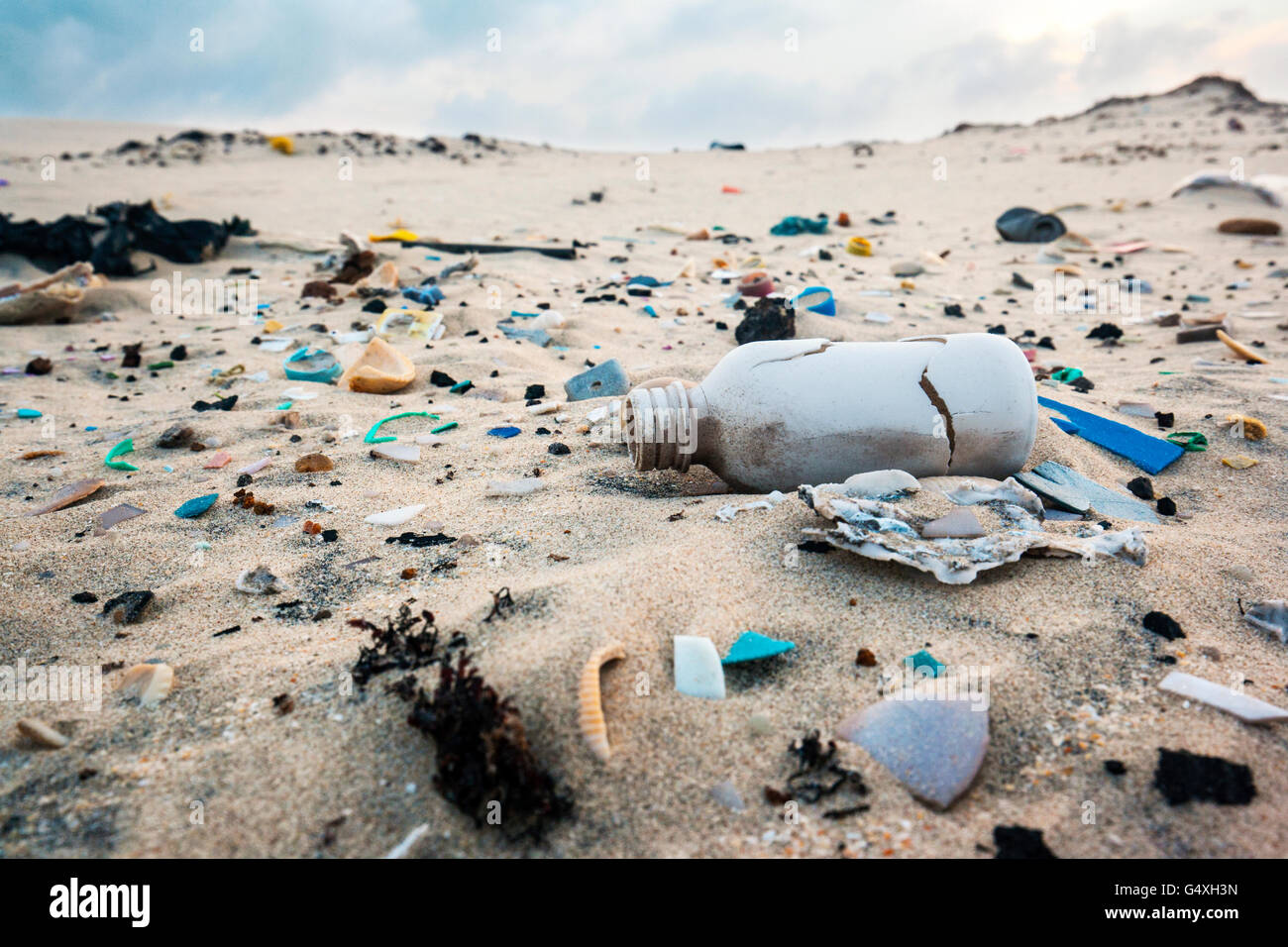 Trash on Beach - South Padre Island, Texas, USA - Stock Image