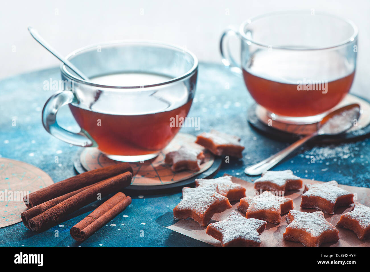 Tea with moonshine and stars - Stock Image