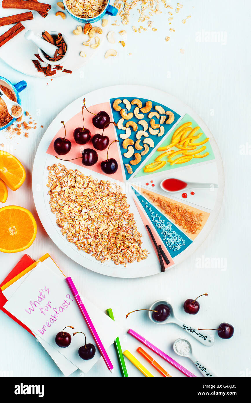What's for breakfast (cherry oatmeal) - Stock Image