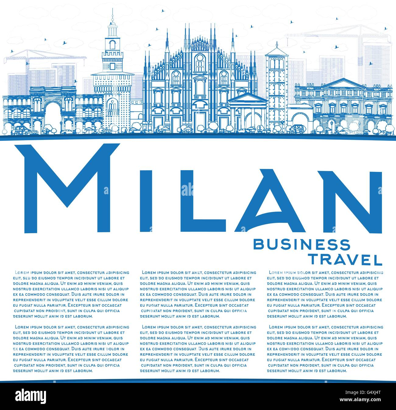 Outline Milan Skyline with Blue Landmarks and Copy Space. Vector Illustration. Business Travel and Tourism Concept - Stock Vector