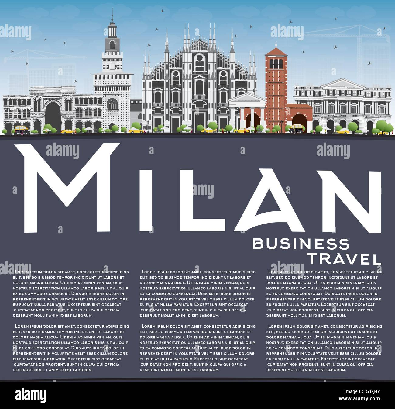 Milan Skyline with Gray Landmarks, Blue Sky and Copy Space. Vector Illustration. Business Travel and Tourism Concept - Stock Vector