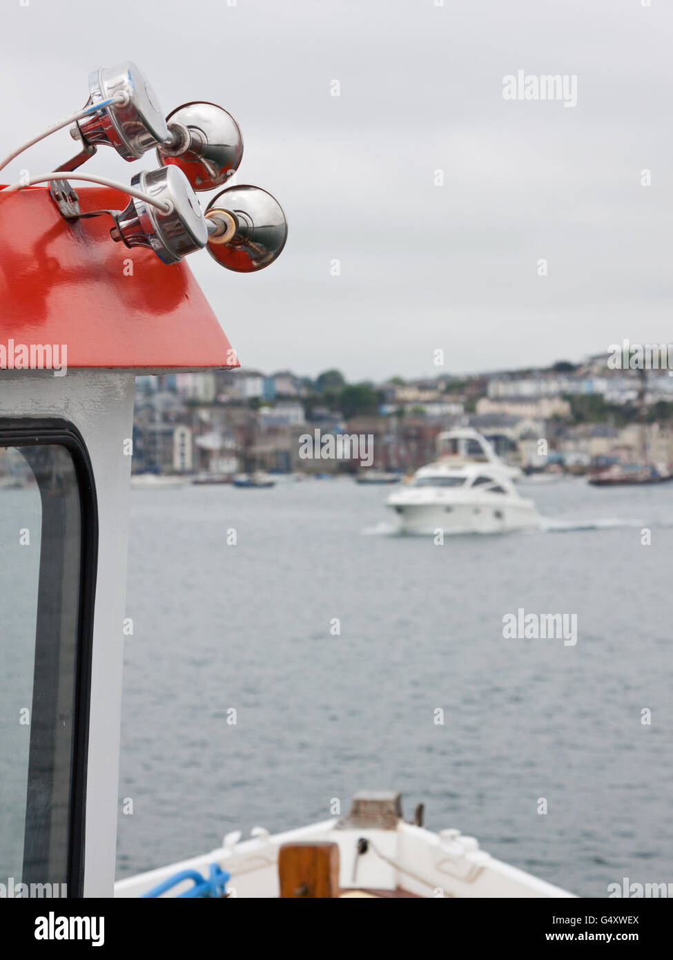 Siren speakers on board a vessel used to warn other shipping of its presence in limited visibility - Stock Image