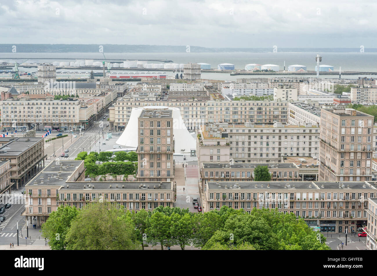 Details of the world heritage 'Quartier Perret' in Le Havre, Normandy, France - Stock Image