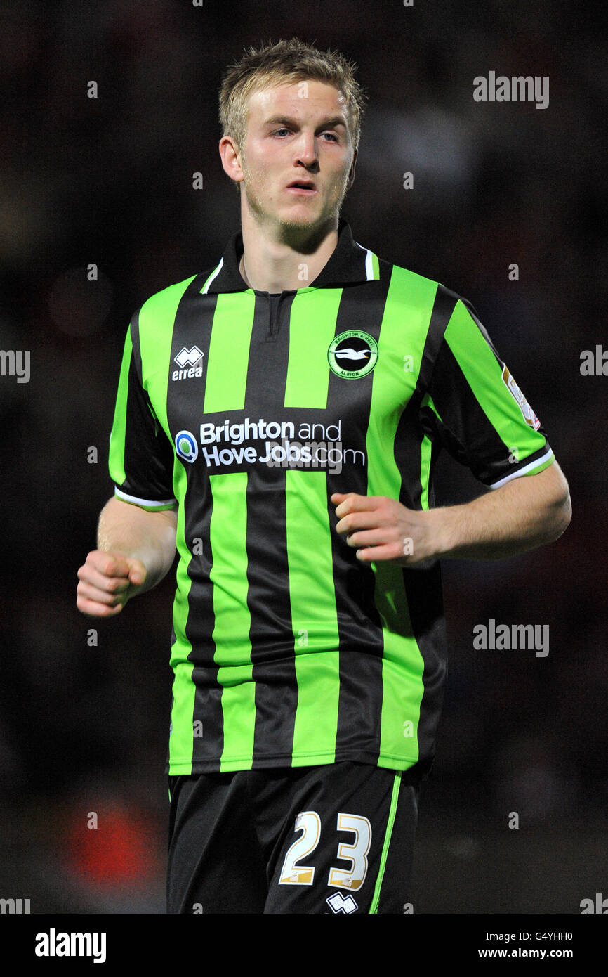 Soccer - FA Cup - Third Round Replay - Wrexham v Brighton & Hove Albion - Racecourse Ground - Stock Image