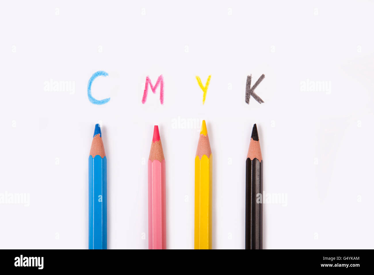conceptual cmyk background, prepress colors from pencils - Stock Image