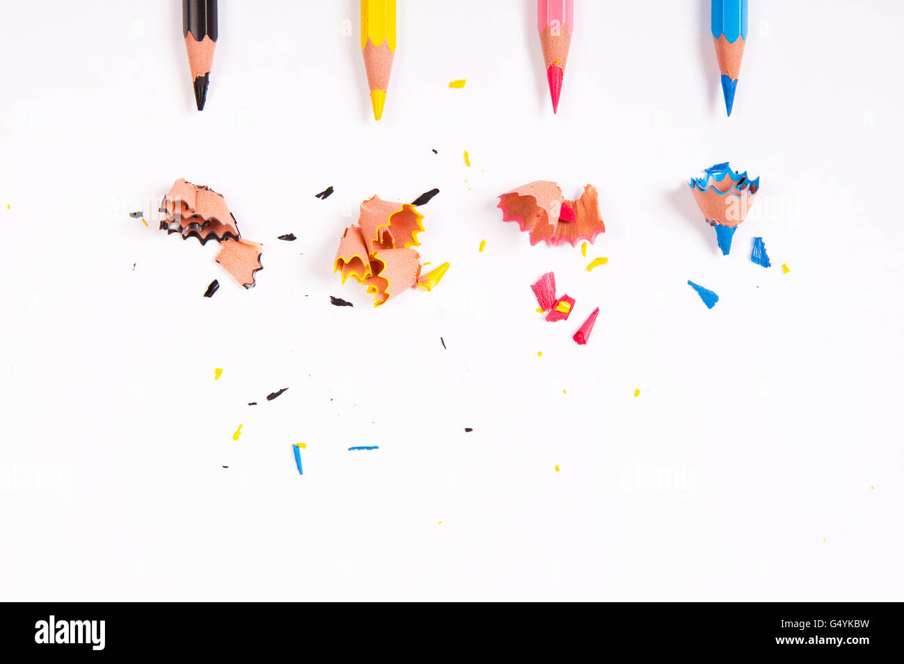 background with cmyk colored pencils - Stock Image