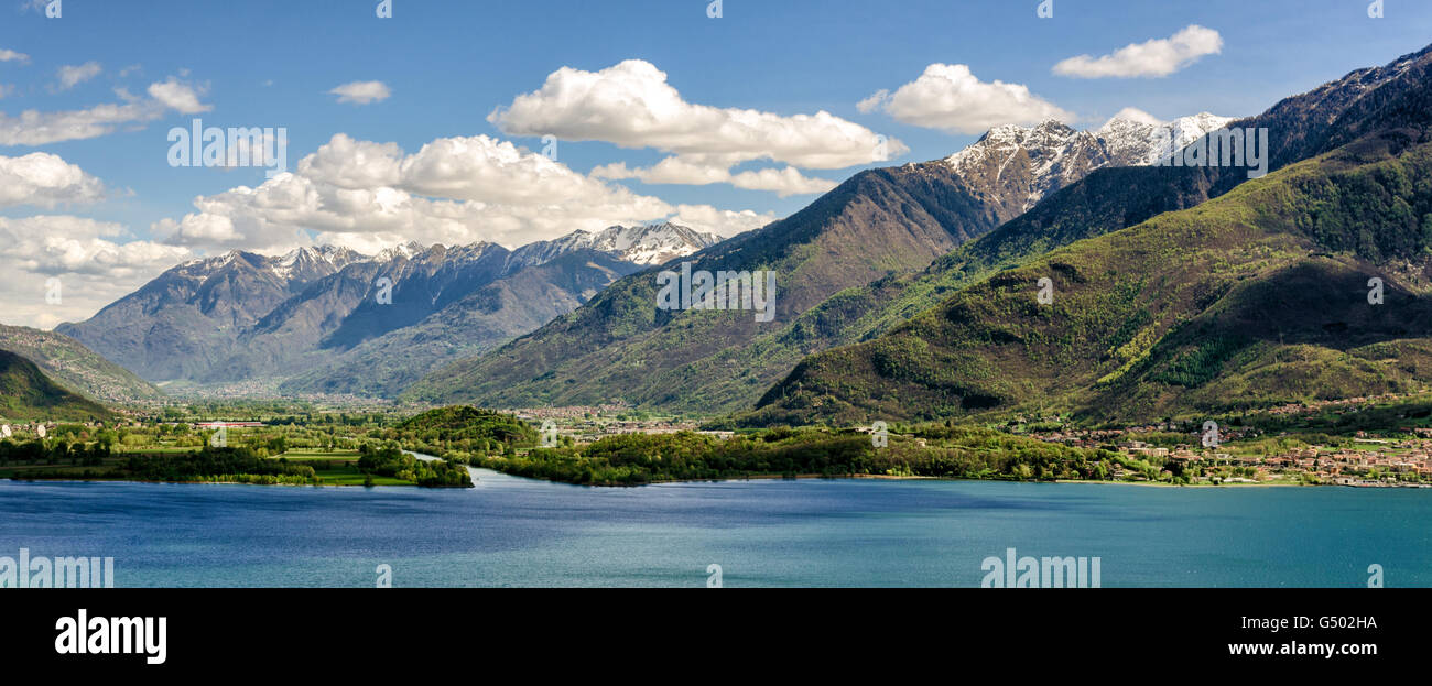 Mouth of the river Mera into the Lake of Como (View from Verceia) Italy Stock Photo