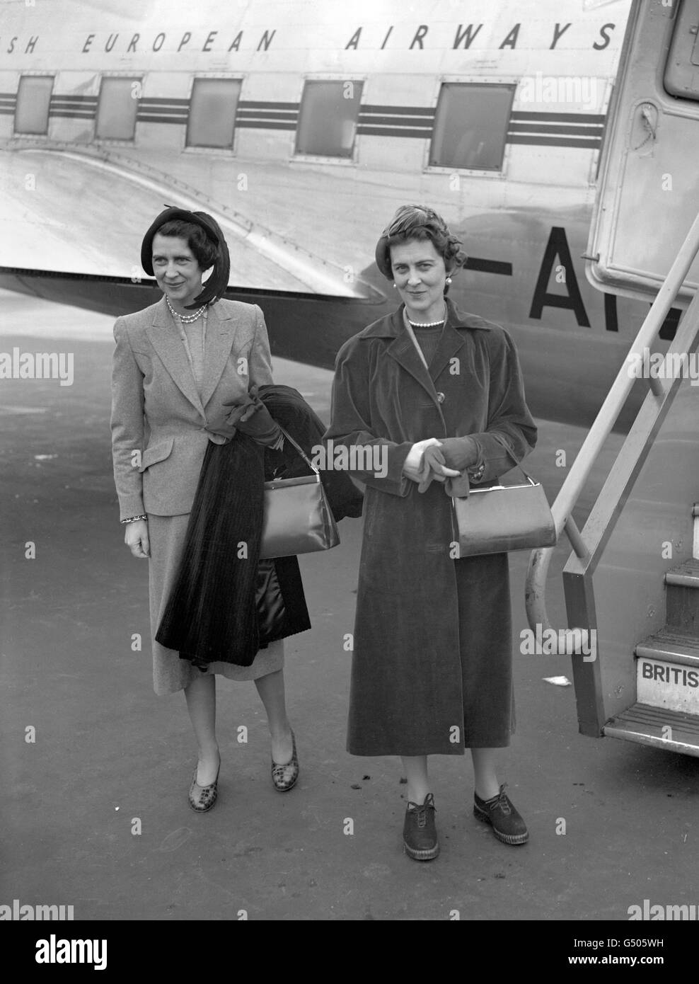 Royalty - Duchess of Kent and Countess Toerring - Northolt Airport Stock Photo