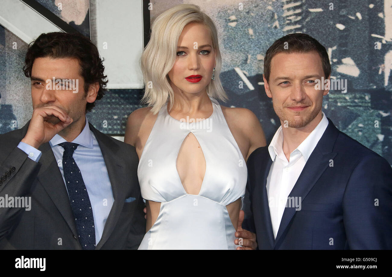 May 9, 2016 - Oscar Isaac, Jennifer Lawrence and James McAvoy attending 'X-Men Apocalypse' Global Fan Screening - Stock Image