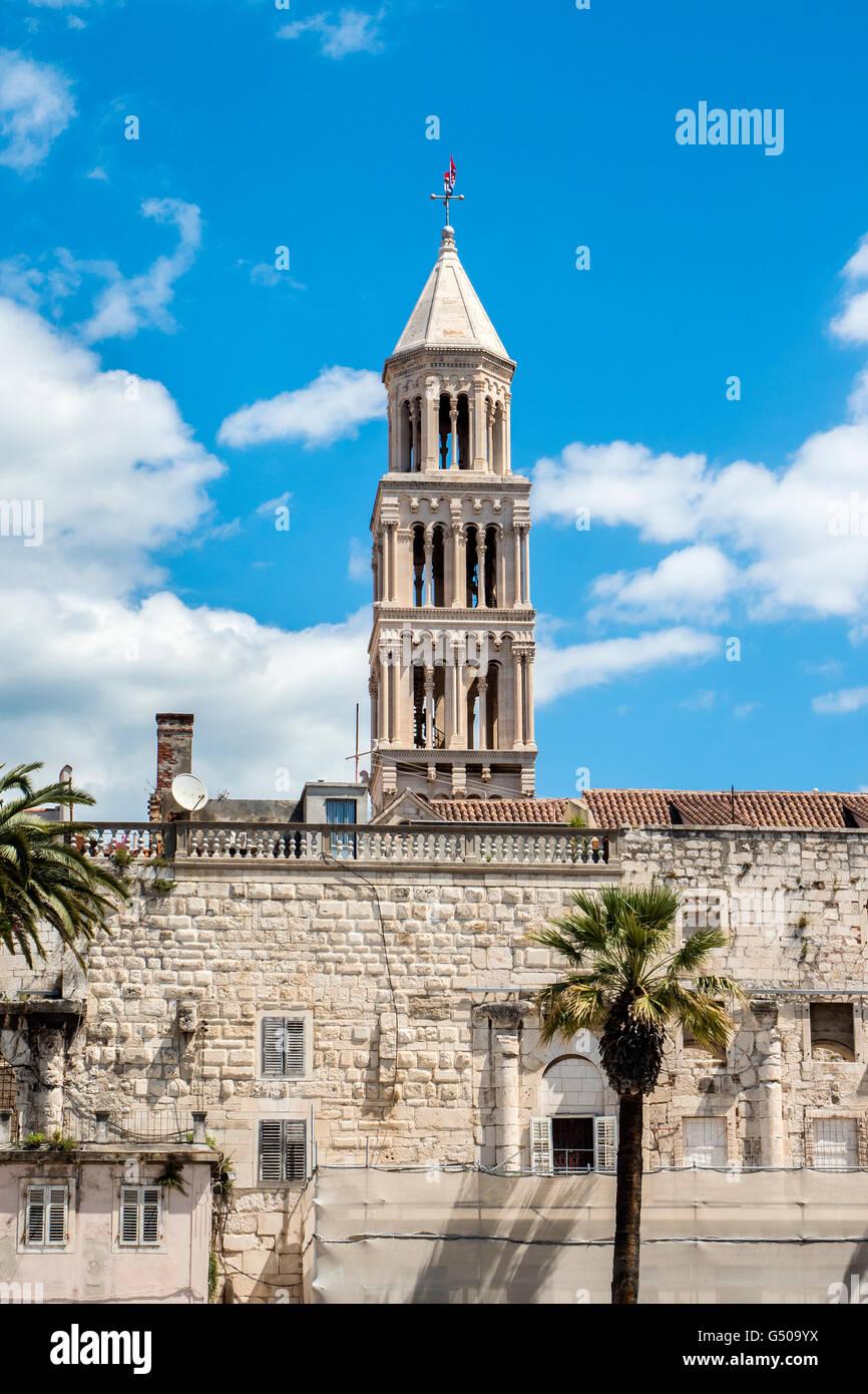 Split UNESCO World Heritage Site, Croatia, Dalmatian Coast, Diocletian's Palace and Cathedral of Saint Domnius - Stock Image