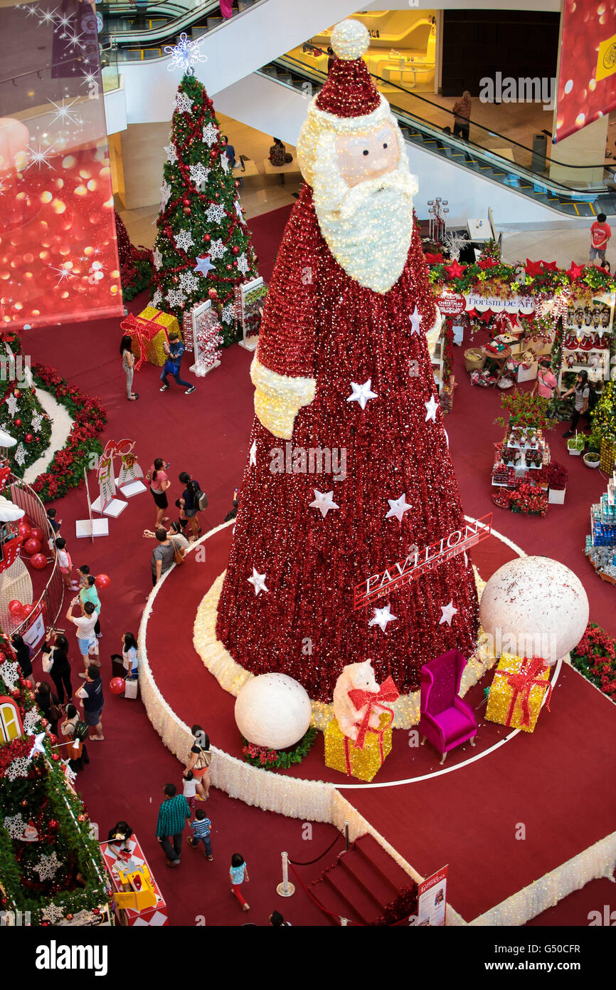 big santa claus christmas decorations to entertain shoppers at pavillion shopping mall in kuala lumpur malaysia