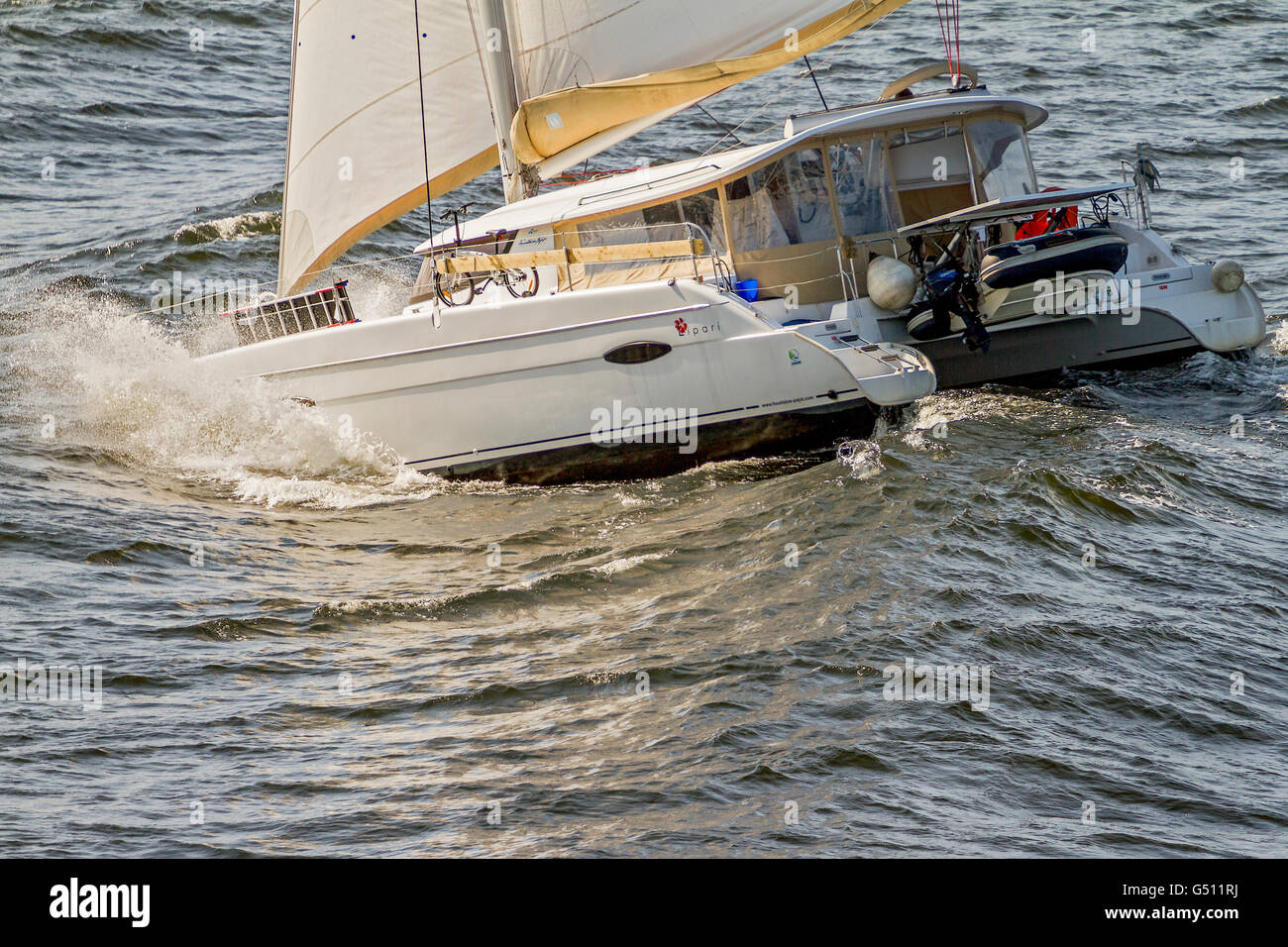 Yacht Caught In a Stormy Sea Oslo Fjord Norway Stock Photo