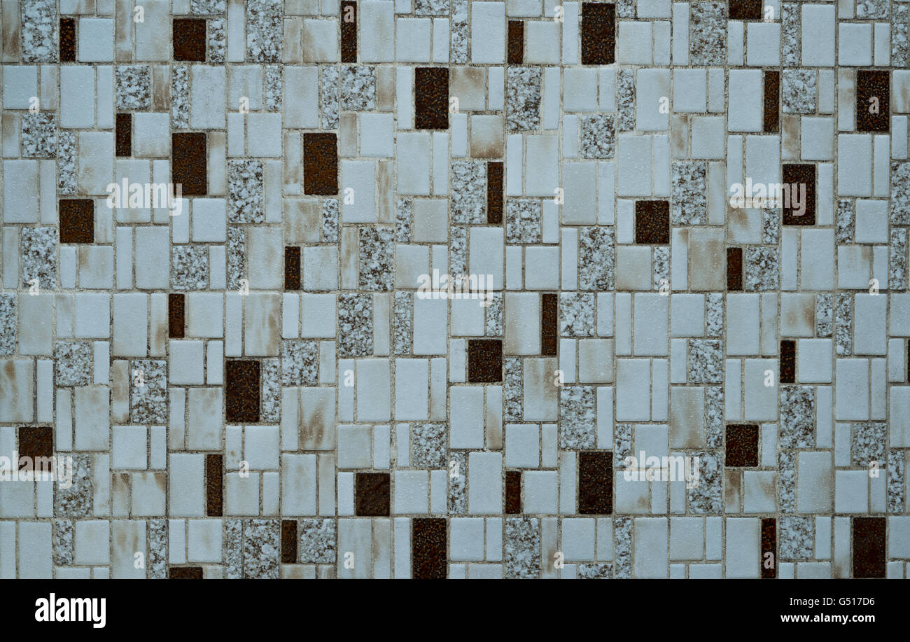 Nostalgic mosaic tiles from the seventies - Stock Image