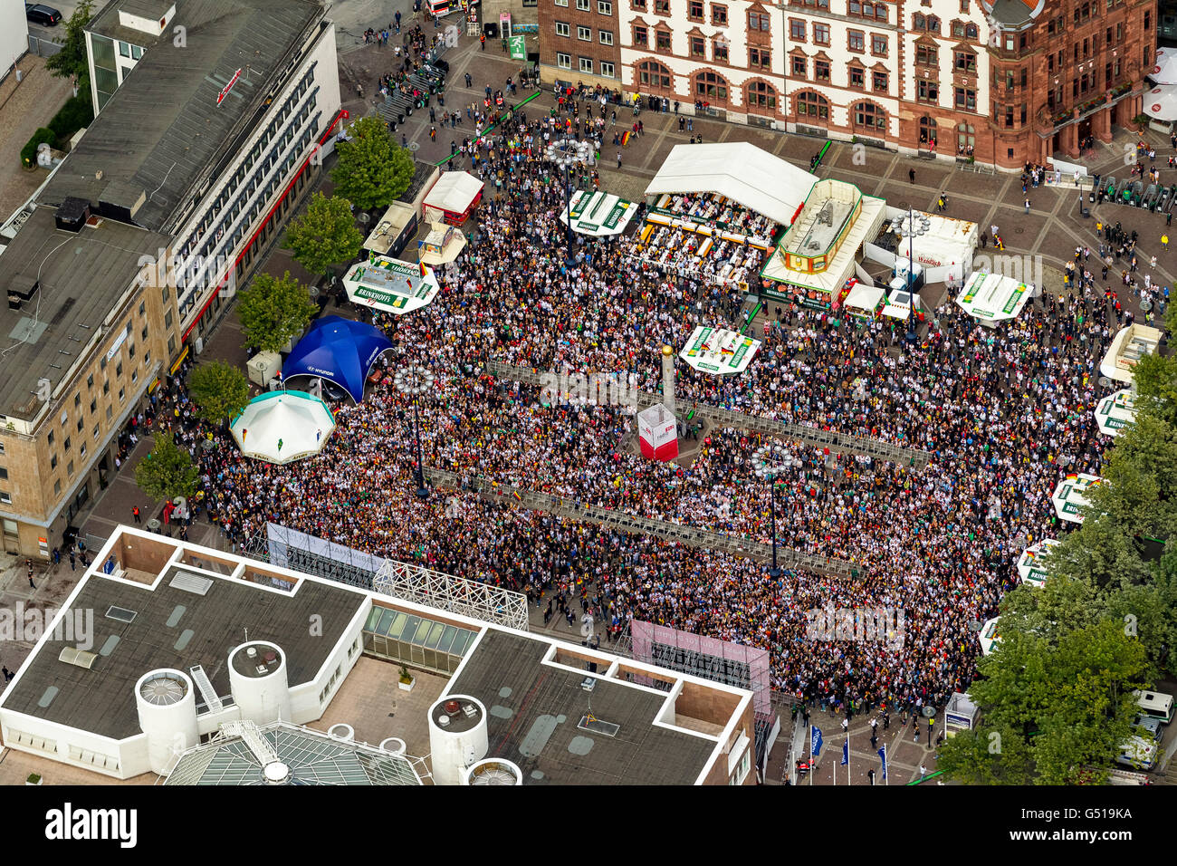 Aerial view, Soccer World Cup 2014, aerial view, public viewing on the Dortmunder Friedensplatz between the Dortmund - Stock Image