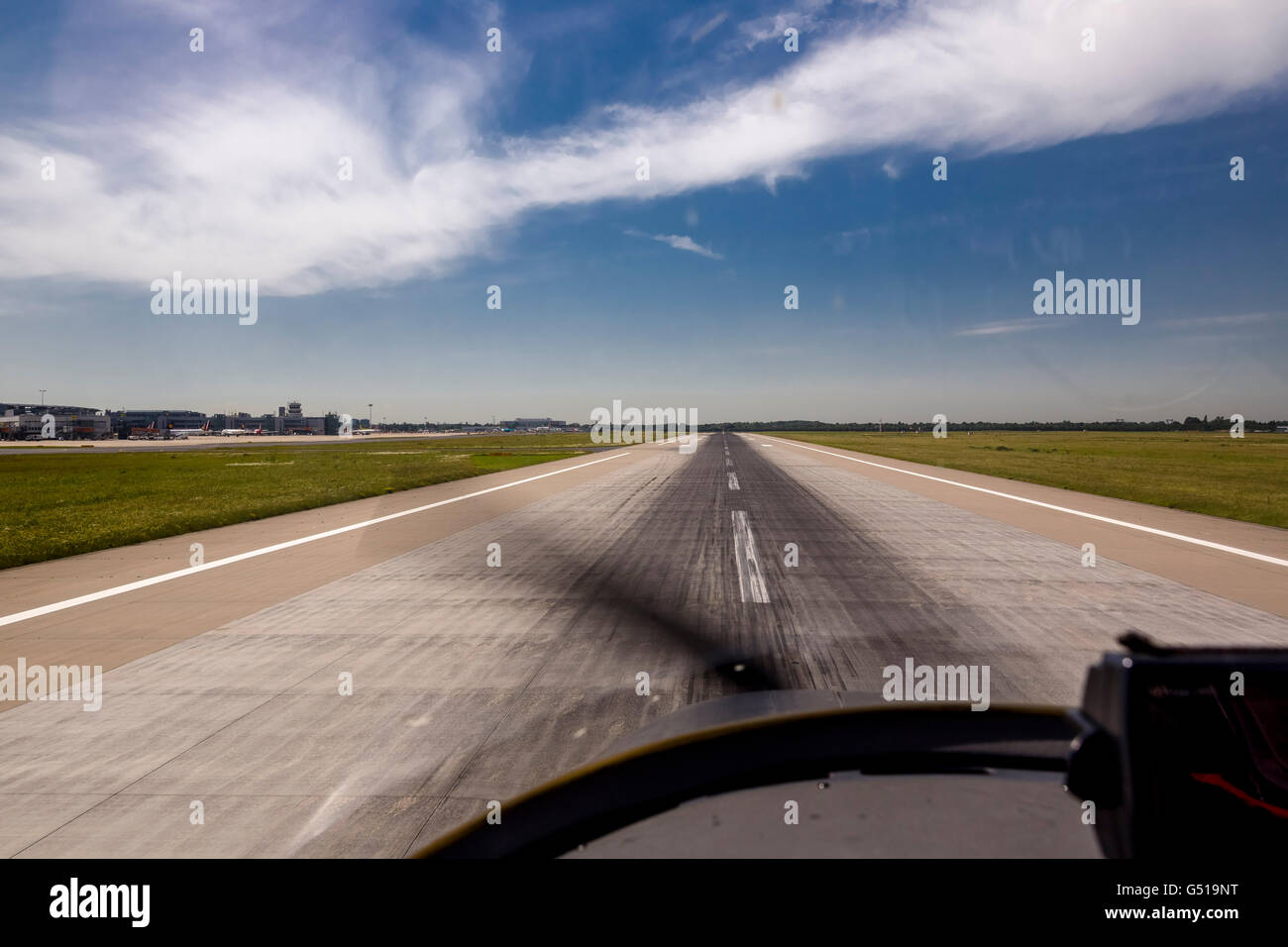Aerial view, approaching the Dusseldorf airport, approach, on the 23L in a small aircraft, Dusseldorf, Rhineland, - Stock Image
