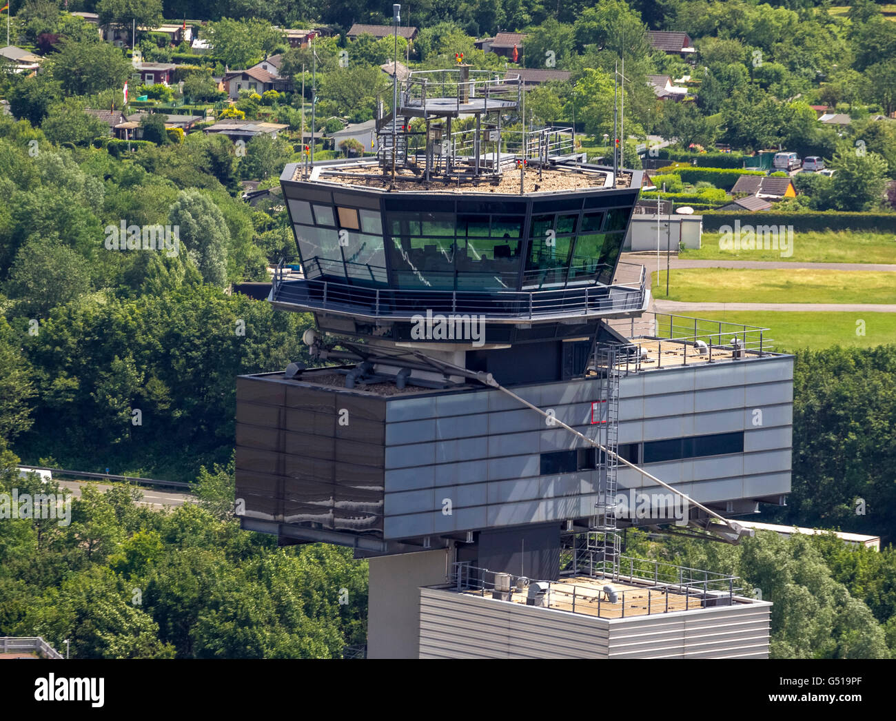 Aerial view, air traffic control, air traffic controllers, Kontroler, tower, tower of the International Airport, - Stock Image