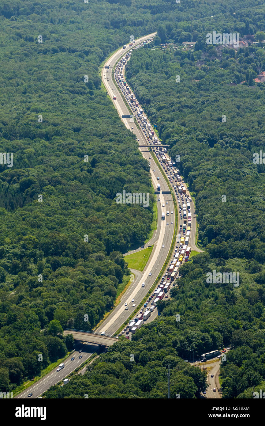 Aerial view, jam on the A3 southbound, south of the junction Kaiserberg, storm damage from the June 9, 2014 and - Stock Image