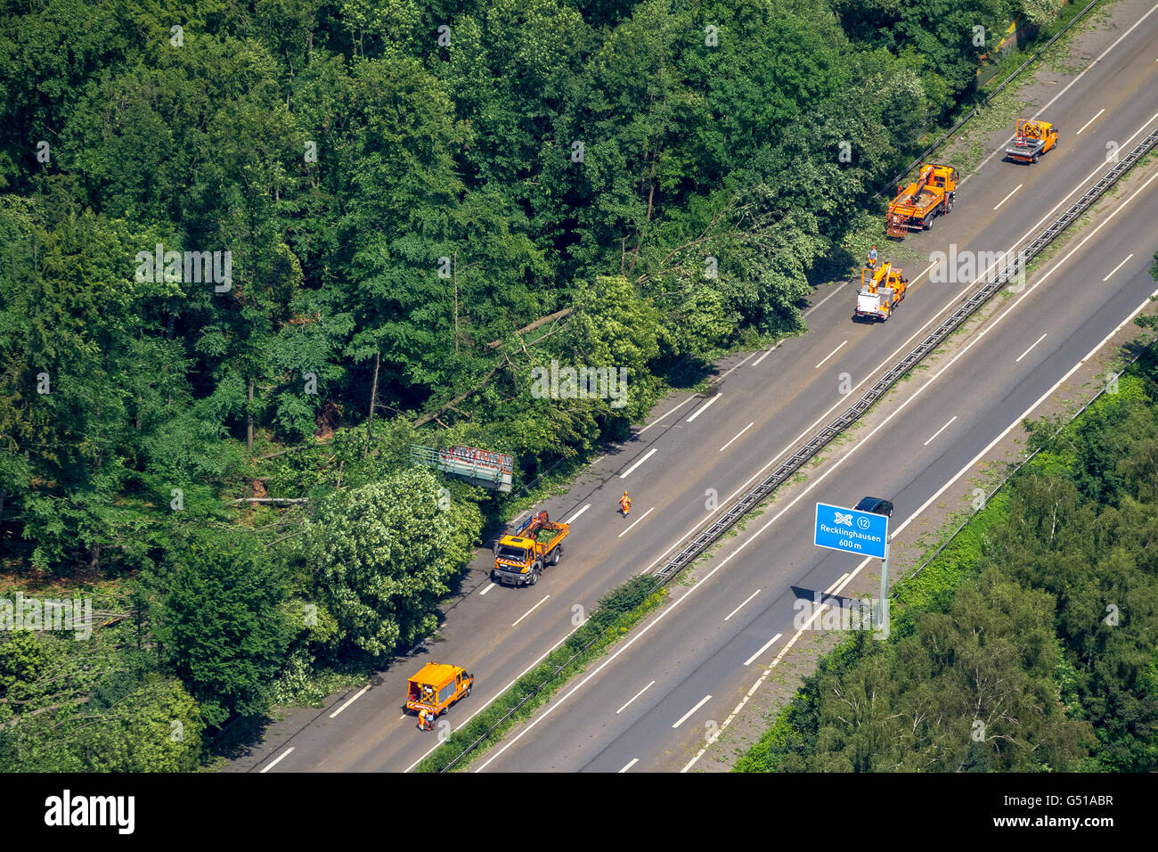 Aerial view, traffic congestion on the A43 towards Herne in Pattern Recklinghausen, storm, storm damage, bent trees, Stock Photo