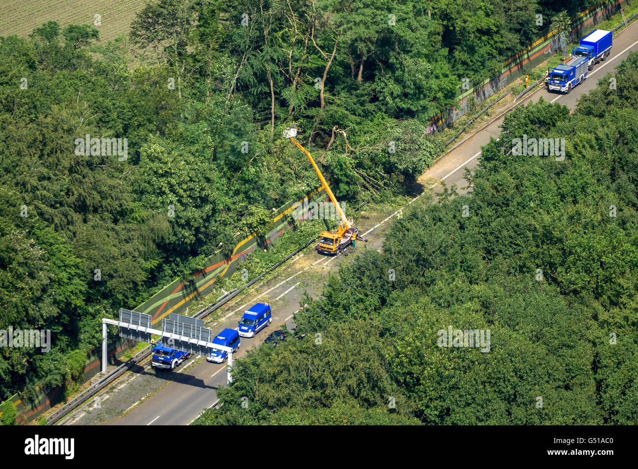 Aerial view, traffic congestion on the A43 towards Herne in Pattern Recklinghausen, storm, storm damage, bent trees, - Stock Image