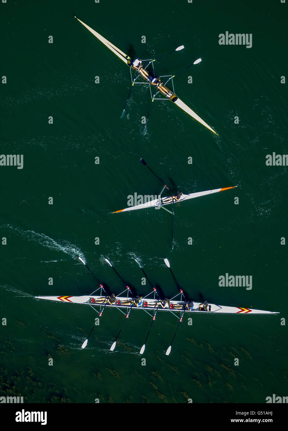 Aerial view, rowing boats on the Ruhr, Witten, Ruhr region, North Rhine-Westphalia, Germany, Europe, Aerial view, - Stock Image