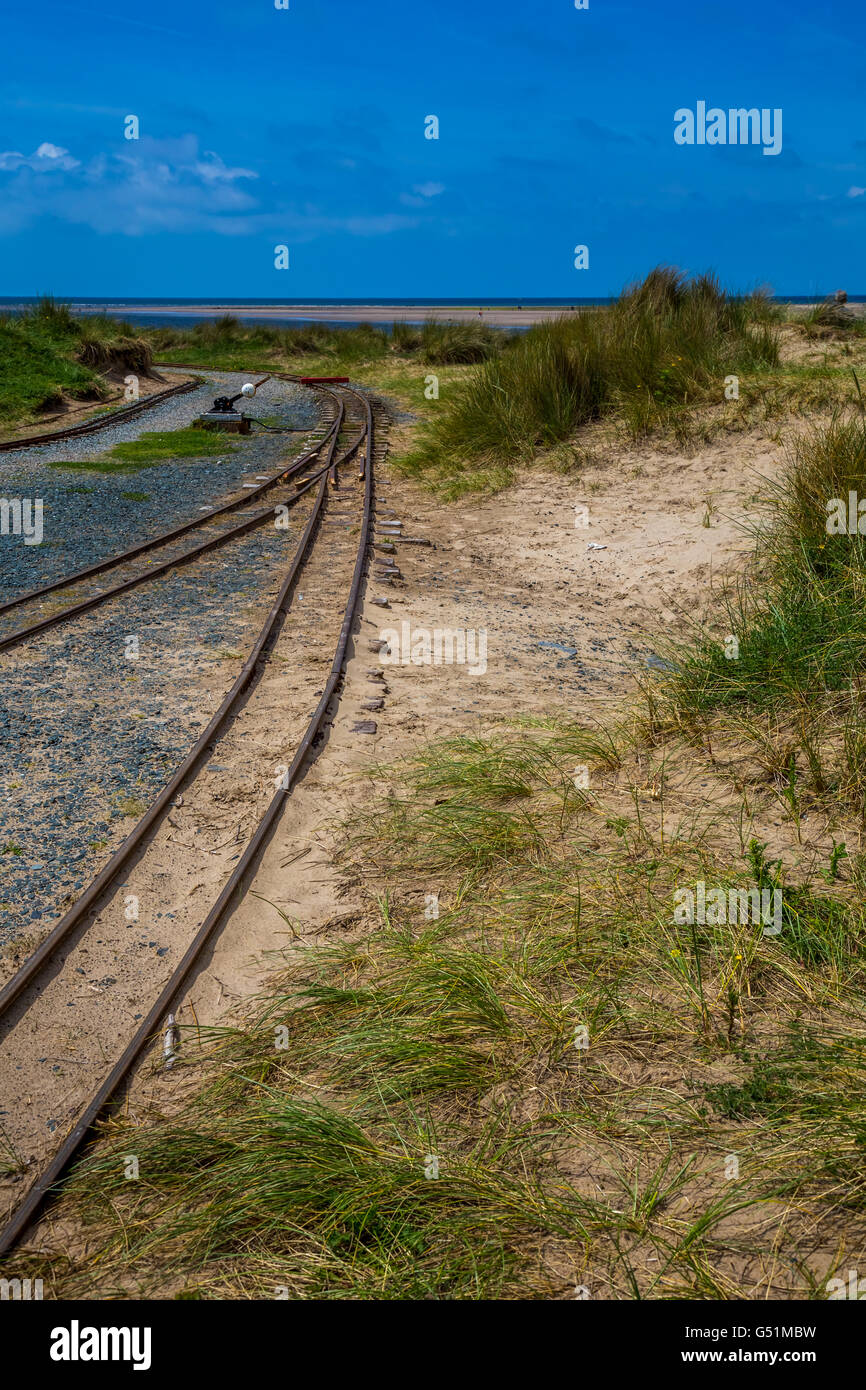 Fairbourne and Barmouth Steam railway, West Wales, UK, Barmouth Bay to the south of the estuary of the River Mawddach Stock Photo