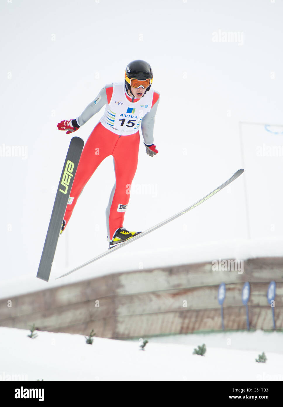 A nordic ski jumper in mid air during the FIS Cup of ski jumping at the Whistler Olympic Park.  Whistler BC, Canada. - Stock Image