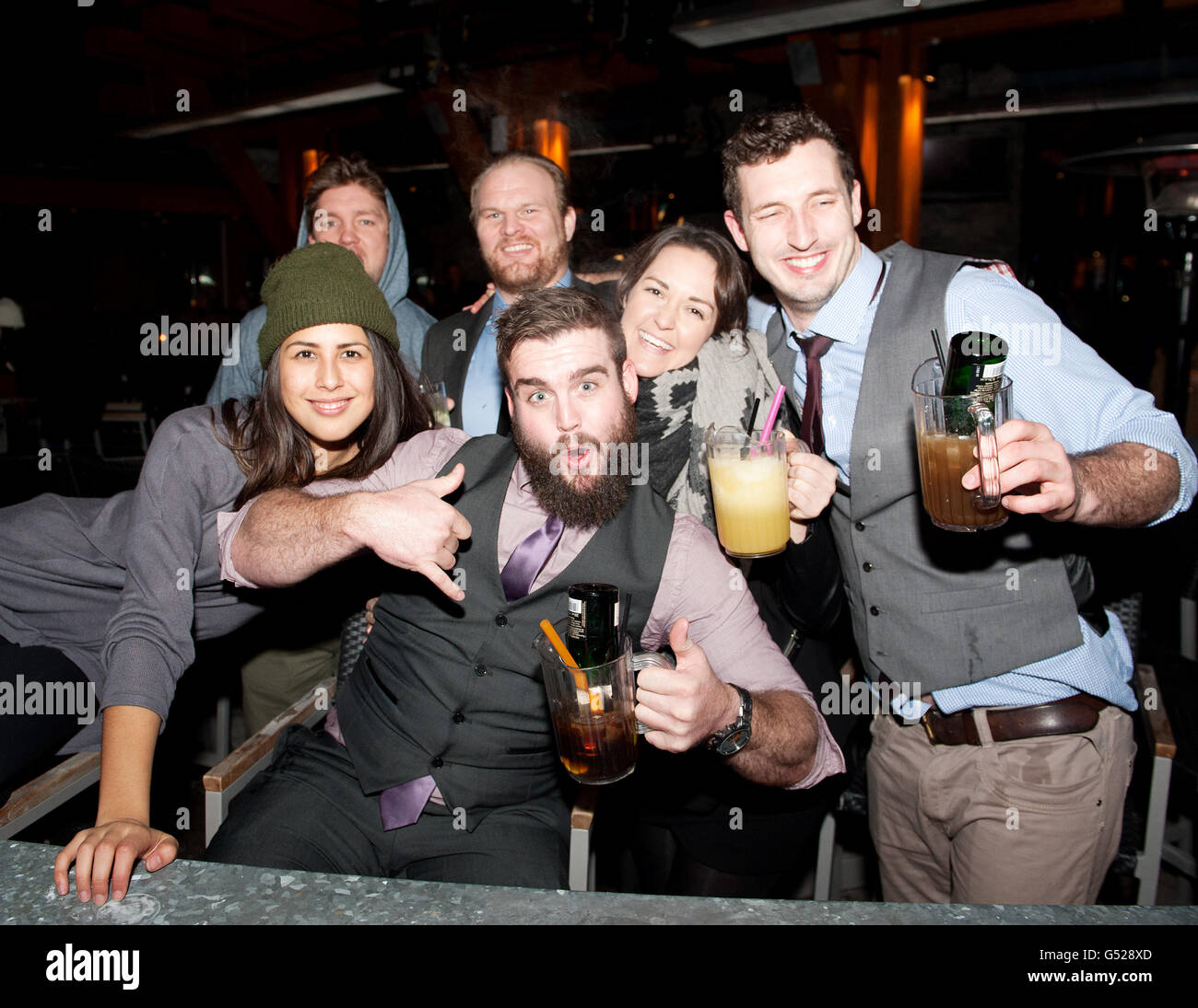 Party goers in the Whistler Village on New year's Eve.  Whistler BC, Canada - Stock Image
