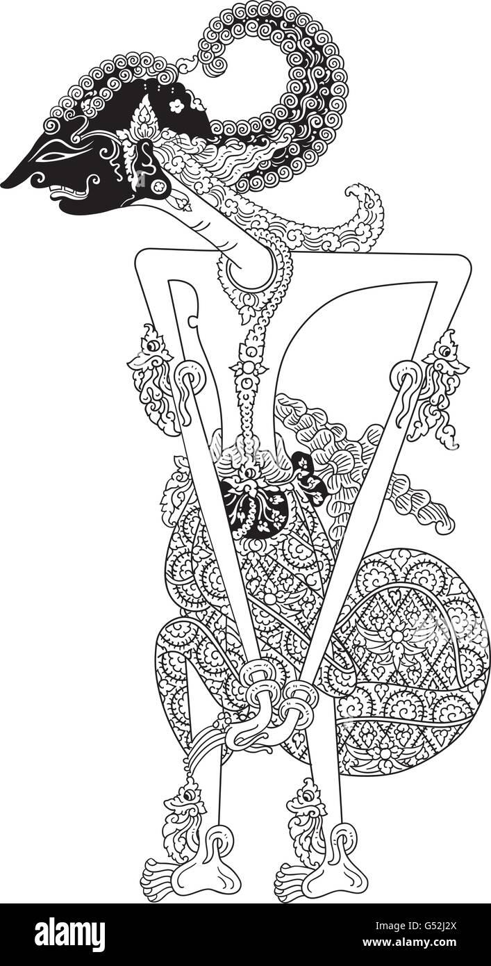 Sadewa A Character Of Traditional Puppet Show Wayang Kulit From Stock Vector Image Art Alamy