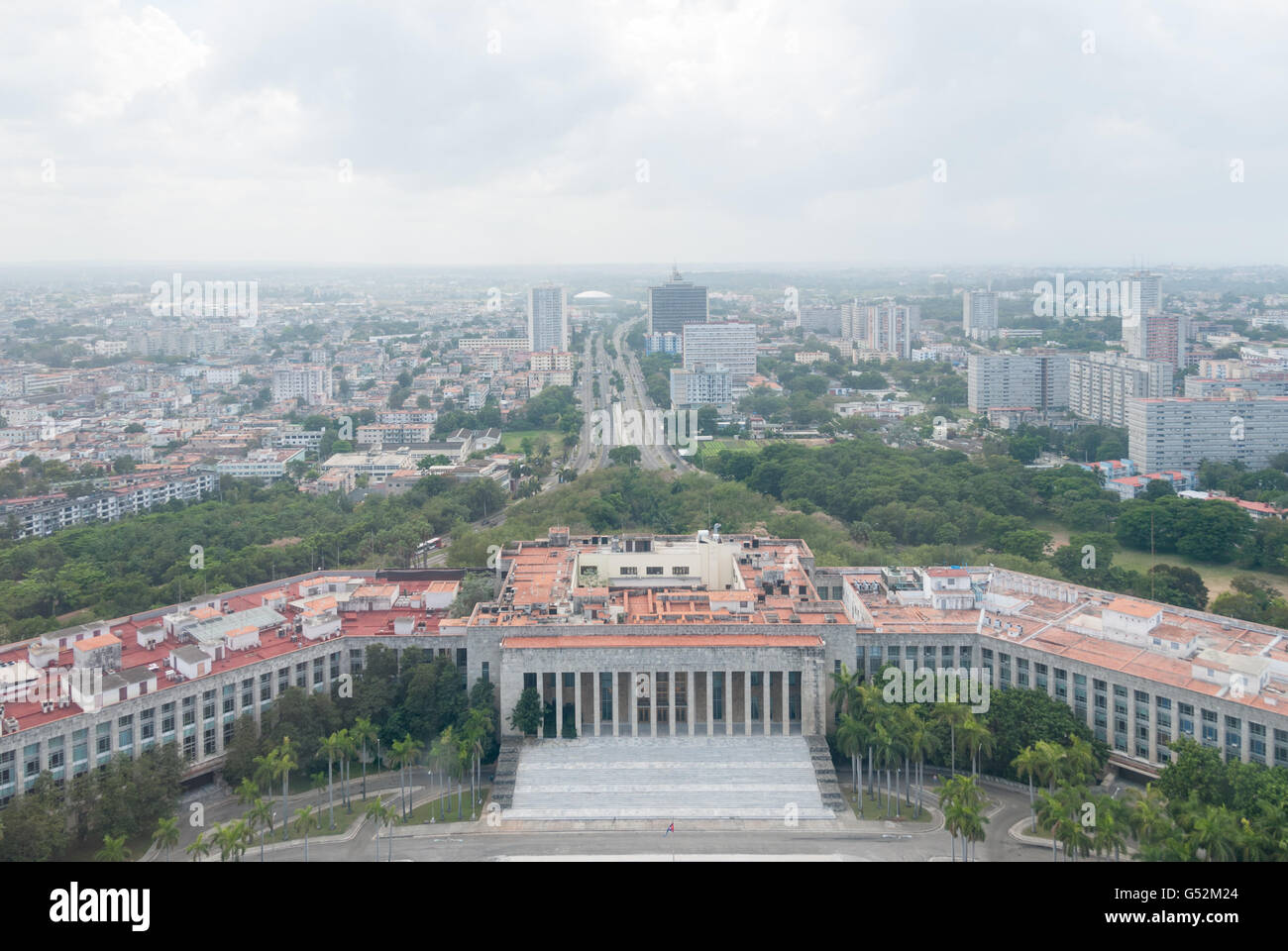 Cuba, Havana, view from the monument José Martí in the direction of Comité Central del Partido - Stock Image