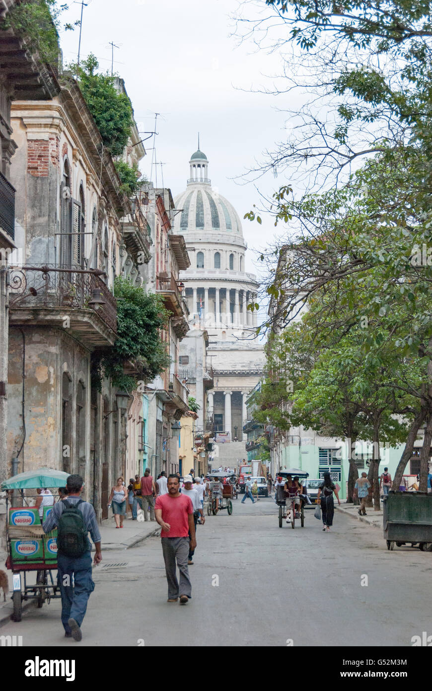 Cuba, Havana, view of the Capitolio from the street Teniente Rey - Stock Image