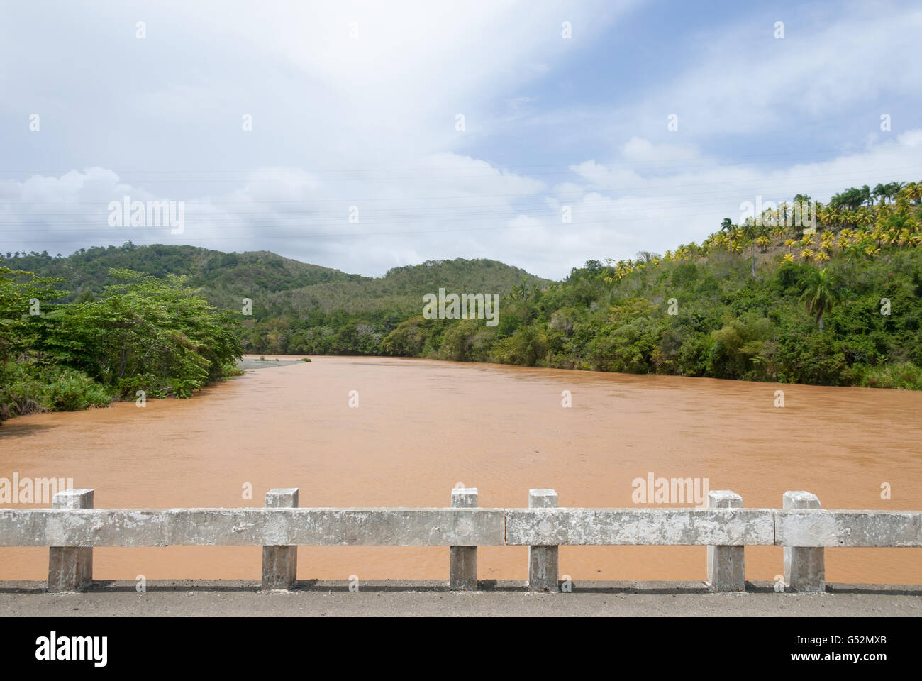 Cuba, Guantánamo, Paso de Toa, On the bridge over the Toa River in Paso de Toa - Stock Image