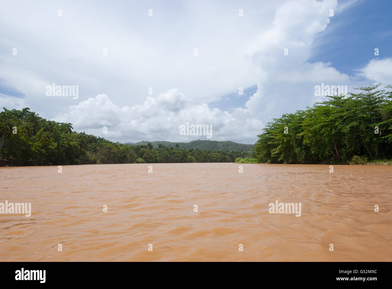 Cuba, Guantánamo, Paso de Toa, boat on the Toa river in Paso de Toa - Stock Image